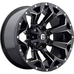 20x10 Gloss Black Fuel Assault 5x4 5 5x5 18 Rims Open Country Mt 35 Tires
