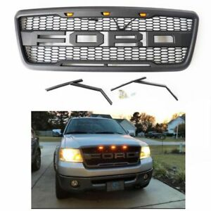 2004 2008 Matte Blcak Grille For Ford F150 Grill Raptor Style Front Hood Us