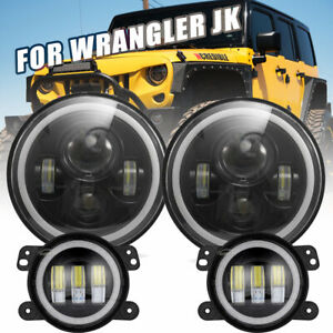 7 Led Headlight Fog Light Halo Ring Drl Signal Turn For Jeep Wrangler Jk 07 18