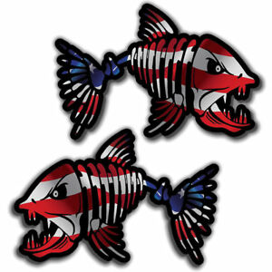 Skull Bone Fish Usa Sticker Decal American Flag Choose Size Left Right