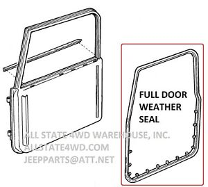 Full Door Weatherstrip Seal L For 97 06 Jeep Wrangler