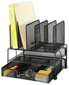 Mesh Desk Organizer Sliding Drawer Double Tray 5 Uprights Papers Office Clutter