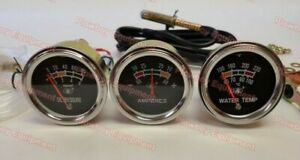 New Tractor Oil Amp Temperature Gauge Set W Chrome Bezel For Many Brands 2