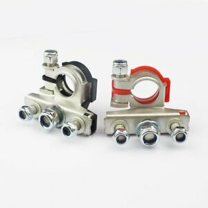 Set 2 Battery Terminal Connector Cable Wire Positive Negative Supporting