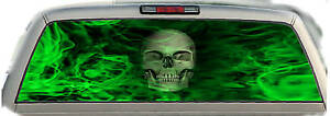 Skull Flames green 02 Rear Window Graphic Tint Truck Stickers Decals