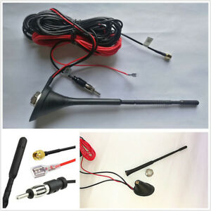 Dab Dab Car Vehicle Roof Radio Aerial Am Fm Amplified Antenna Sma Male Connector