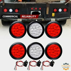 4 Round 12 led Stop Turn Reverse Backup Tail Lights Trailer 4 Red 2 White