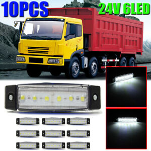 10x 24v 6 Led White Side Marker Indicators Lights Lamp Bar Truck Trailer Lorry