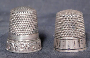 2 Antique Sterling Silver Thimbles Simms Brothers Ketcham Mcdougall Ny Fancy