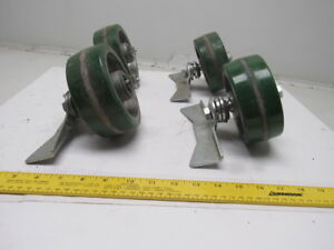 Albion Pd0520019 5 X 2 Poly On Aluminum Caster With Brake Parts Lot Of 4