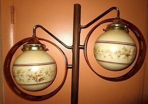 Vintage Retro Midcentury Modern Danish Era 2 Shade Tension Pole Lamp Nice