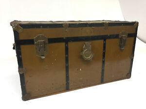 Vintage Brown Steamer Trunk W Tray Industrial Storage Chest Crate Box Table Loft