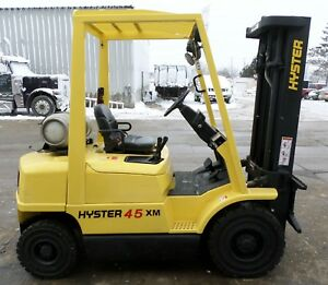 Hyster Model H45xm 2004 4500 Lbs Capacity Great Pneumatic Tire Forklift