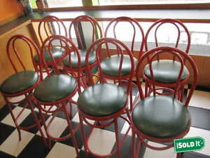 8 Restaurant Commercial Use Bar Stools 45 Tall Metal Frame Quality Red Green
