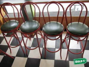 4 45 Tall Commercial Use Durable Restaurant Bar Metal Frame Stools Red Green