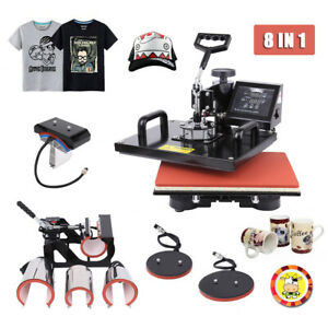 8 In 1 Heat Press Machine Combo Sublimation For T shirts Plate Hat Cup 12 x15