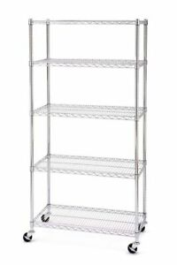 5 Tier Shelf Brackets Adjustable Wire Metal Shelving Rack W rolling Storage Us