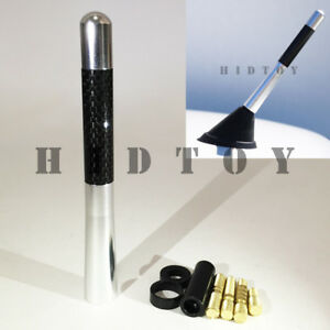 Jdm Style Silver 5 In 127 Mm Carbon Fiber Screw Type Short gd29 Radio Antenna