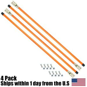 4pk Pack 36 Snow Plow Guides Stakes Markers Safety Orange Bolt On W Hardware