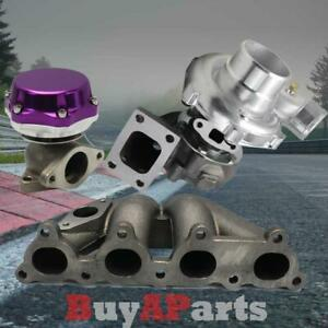 T3 T4 57 Turbo Bottom Mount Manifold Purple Wastegate For Honda Del Sol D15 D16