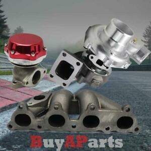 T3 t4 57 Turbo bottom Mount Manifold Red Wastegate For D series Honda Civic