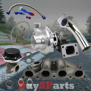 T3 T4 Turbo Manifold Black Wastegate Oil Feed Return Line Downpipe For D Series