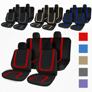 8 Pcs Universal Full Set Car Seat Covers Fit For Auto Truck Vans Suv 4 Heads