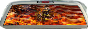 Fireman American Flag Flaming 02 Rear Window Graphic Tint Truck Stickers Decals