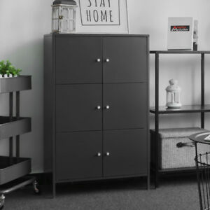 Metal Filing Cabinet Storage Organizer Home Office Floor Cabinet Dark Grey H7p3