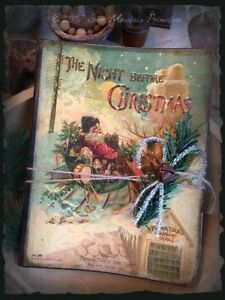 Primitive Santa Claus The Night Before Christmas Book Journal Cupboard Tuck