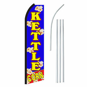 Kettle Corn Banner Flag Pole Only Blu Yel Advertising Sign Swooper Feather