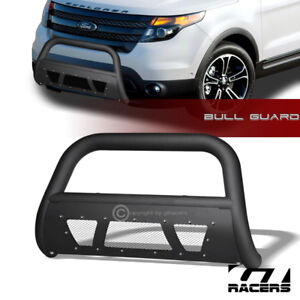 For 2011 2018 Ford Explorer Matte Black Studded Mesh Bull Bar Brush Bumper Guard