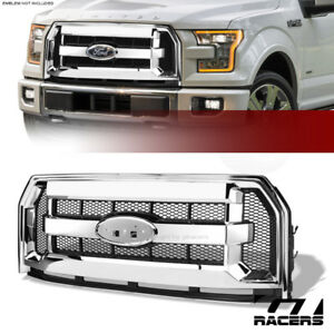 For 2015 2017 Ford F150 Chrome Black Honeycomb Mesh Front Hood Bumper Grille