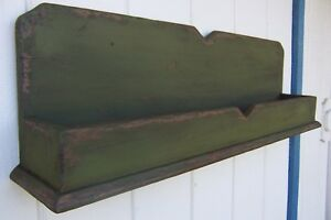 Primitive Rustic Painted Country Wall Shelf Rack Farmhouse Decor Shelves Box