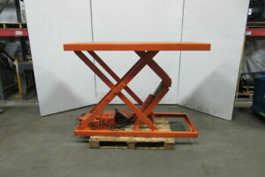 American M 1202 3f 4000lb Hydraulic Scissor Lift Table 72 x 36 Top 8 52 Lift