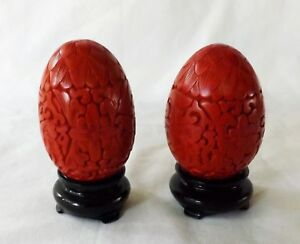 2 Vintage Chinese 2 5 8 Hand Carved Red Cinnabar Lacquer Over Brass Eggs Excell