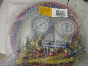 Yellow Jacket 41195 2 Valve Manifold Red Blue Gauges R 12 R 22 R 502