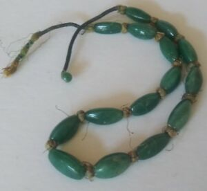 Old Antique Green Jadeite Jade Oblong Oval 3 Sided 10mm Beads Necklace 48 Grams