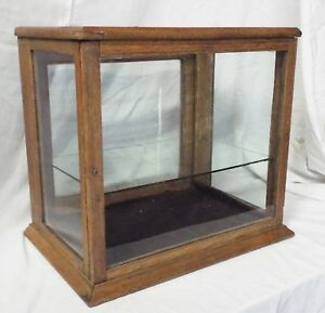Old Antique Small Oak Glass Counter Top Display Case Showcase Glass Shelf