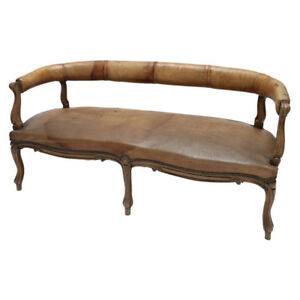 19th C Italian Leather Settee Sofa