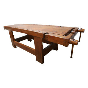 1920s Italian Wooden Carpenter S Bench With Three Working Vices