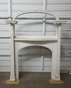 Salvage Art Nouveau Painted Fire Place Mantle Surround Vintage