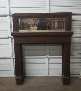 Salvage Oak Mission Style Fire Place Mantle Surround Vintage