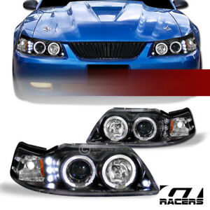 Blk Drl Led Halo Rims Projector Headlights Signal 1999 2004 Ford Mustang V6 V8