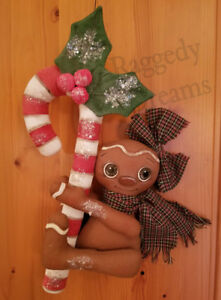 Handmade Large Primitive Gingerbread Girl Candy Cane Christmas Ornament 3