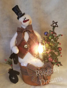 Handmade Primitive Snowman Doll With Electric Candle Lamp Christmas Decoration