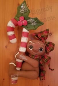Handmade Large Primitive Gingerbread Girl Candy Cane Christmas Ornament 4
