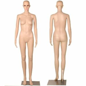 Dress Form Mannequin Torso Model Display Standing Plastic Body Metal Base Female