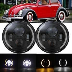 2x 7 Inch Cree Led Round Headlight Hi Low Beam Fit Volkswagen Vw Beetle Classic