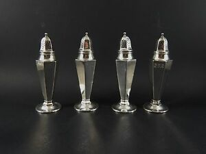 Set Four Whiting Gorham Sterling Silver Salt Pepper Shakers 3705 Mono 5 1924
